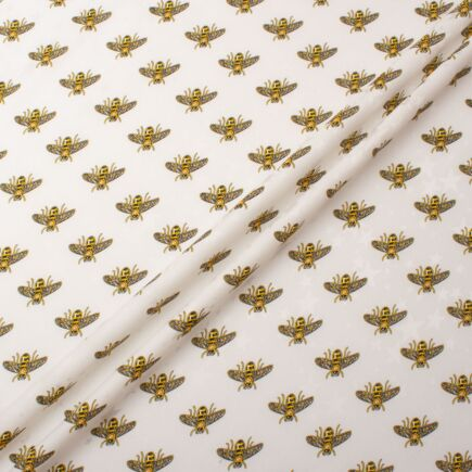 Bee Printed Ivory Silk With Star Jacquard