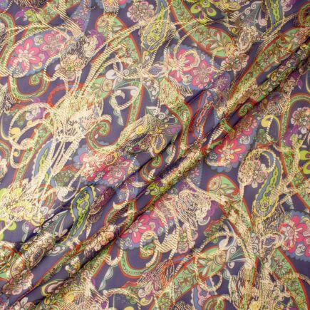 Multi-Coloured Paisley Metallic Silk Georgette