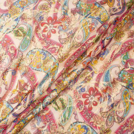 Multi-Coloured on Barely Pink Metallic Silk Georgette