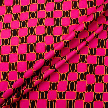 Bright Pink Printed Black Sateen Cotton