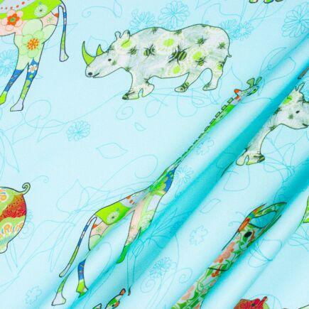 Turquoise 'Safari Animals' Printed Silk Twill