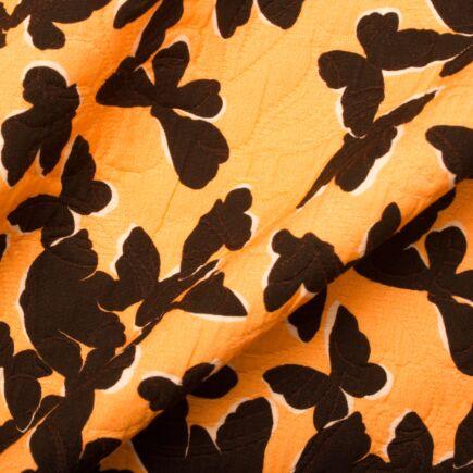 Orange Butterfly Printed Cotton Piqué