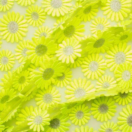 Fluorescent Green Daisy Embroidered Tulle