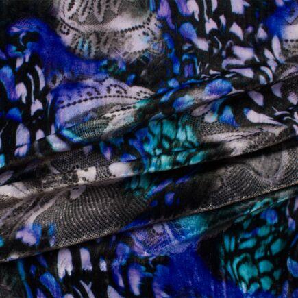 Blue Floral Printed Velvet