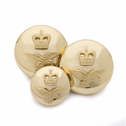 Gold Plated 'RAF' Mounted SB Button Set