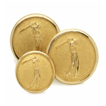 Gold 'Golfer' Single Breast Button Set