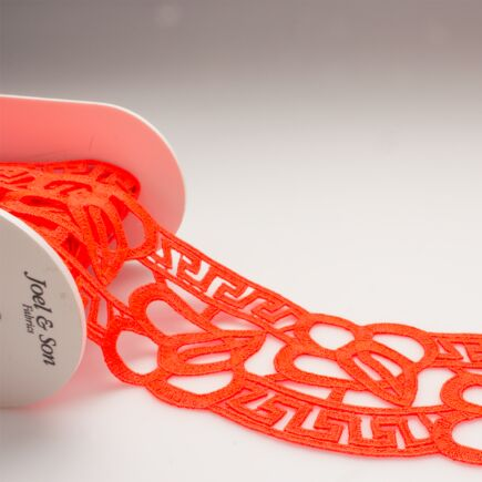 Neon Coral Pink Guipure Trim
