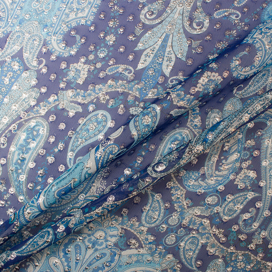 Blue and beige leopard print hand made chiffon .
