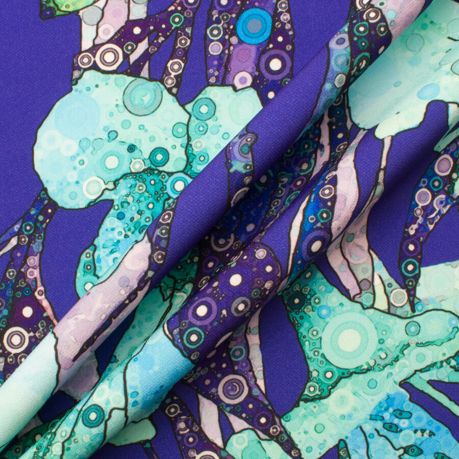 SCUBA FABRIC AVAILABLE IN 2 COLOURS; PINK AND BLUE ABSTRACT DESIGN