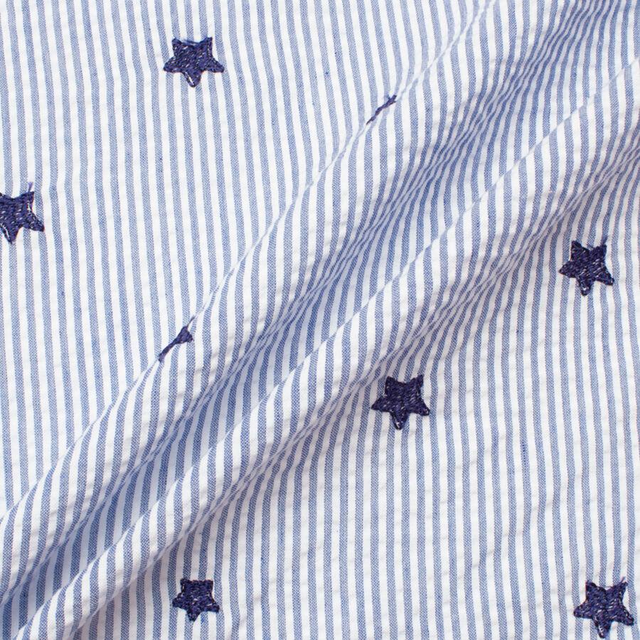 Blue White Striped Seersucker Denim Joel Son Fabrics Joel