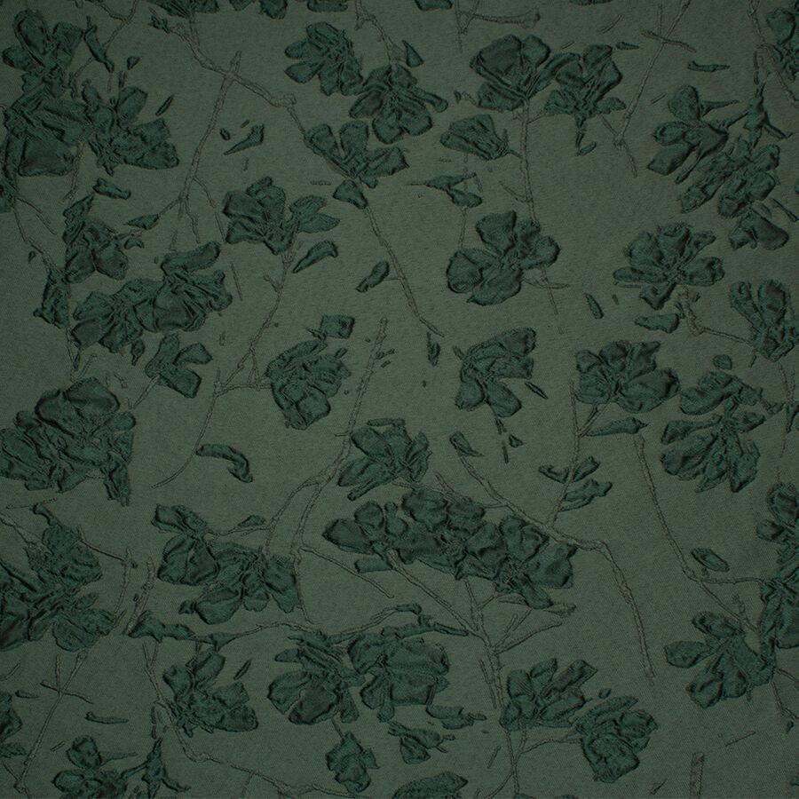 Dark Green Floral Tone On Tone Cloque Joel Son Fabrics