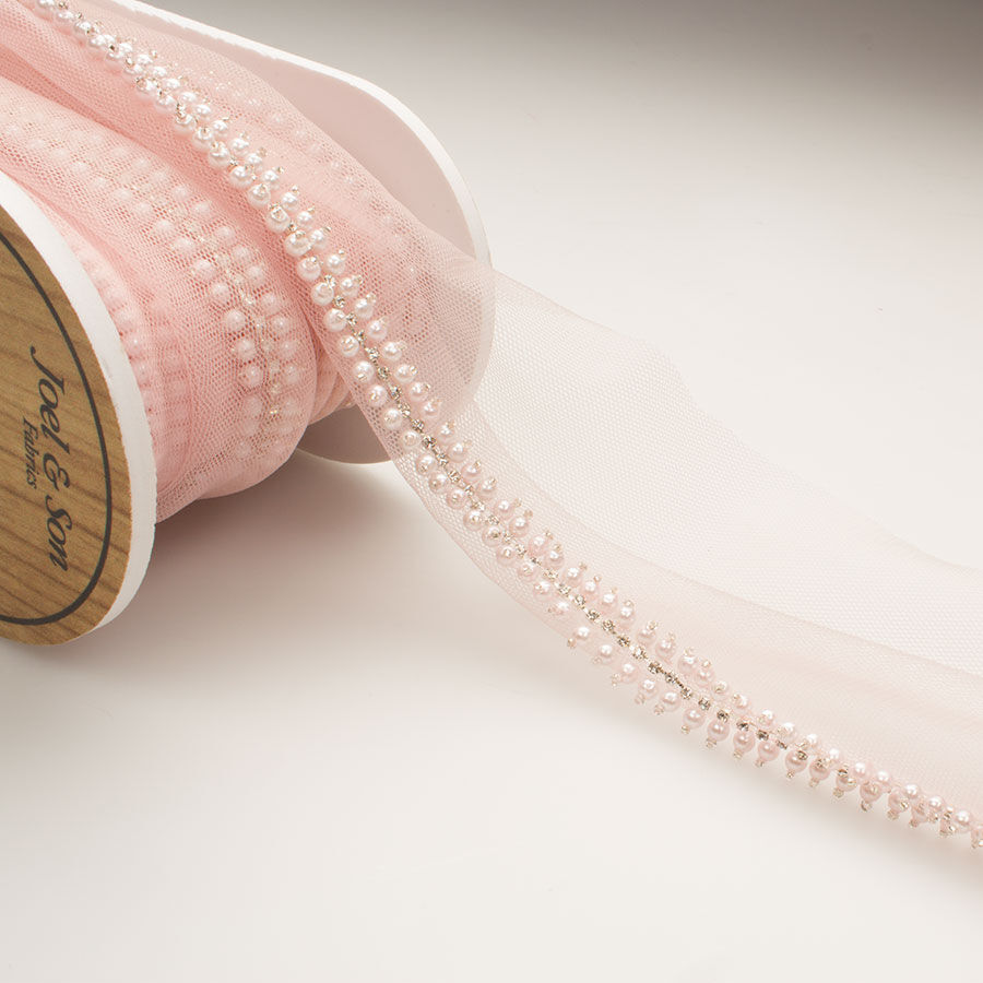 Peach Pearl Sequin Organza Trim By The Metre