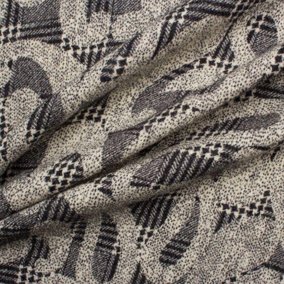 ITALIAN  KNITTED WOOL MIX JACQUARD DRESS FABRIC-FREE P/&P WINE//BLACK