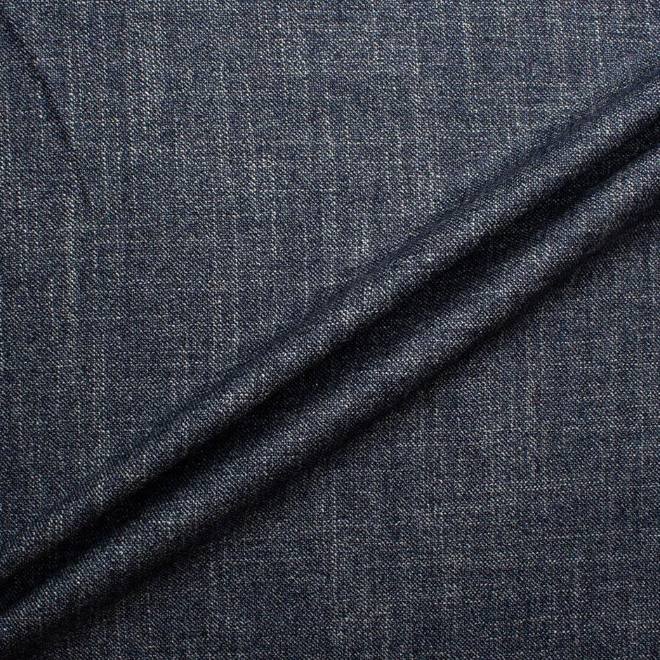 Ink Blue Wool & Silk Tweed Suiting Fabric
