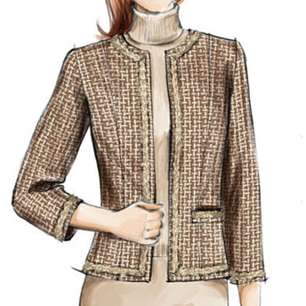 MISSES COLLARLESS JACKET PATTERN Size 12-14-16